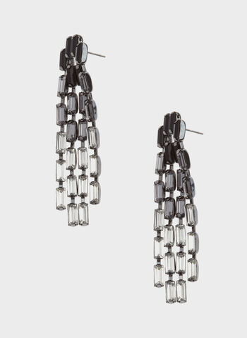 Ombré Crystal Cascade Earrings, Black, hi-res