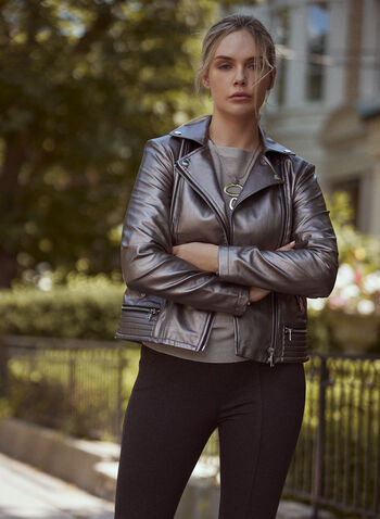 Zip Front Motorcycle Jacket, Beige,  fall winter 2021, jackets, outdoors, zipper, pocketed, biker, metal finish,