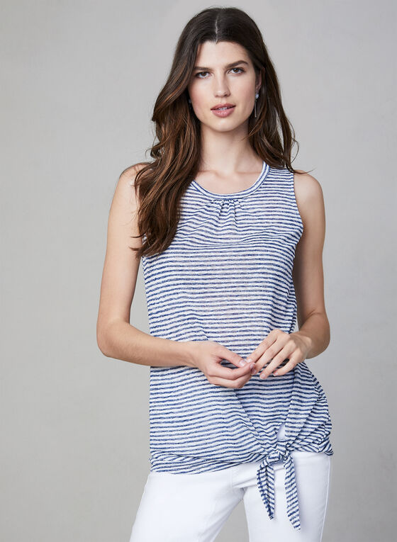 Pure Essence - Stripe Print Top, Blue, hi-res