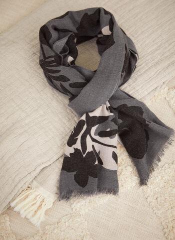 Foulard rectangulaire à motif floral, Gris,  accessoires, foulard, léger, rectangle, ourlet effiloché, motif floral, automne hiver 2021