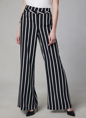Frank Lyman - Stripe Print Wide Leg Pants, Black, hi-res