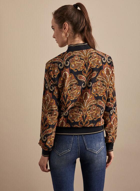 Paisley Print Bomber Jacket, Blue