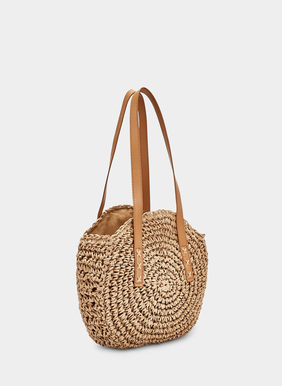 Round Straw Bag, Off White, hi-res