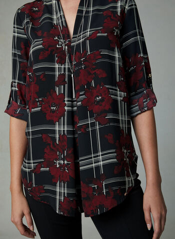 Vex - Plaid & Floral Print Blouse, Black, hi-res