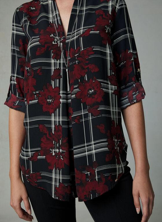 Vex - Plaid & Floral Print Blouse, Black, hi-res