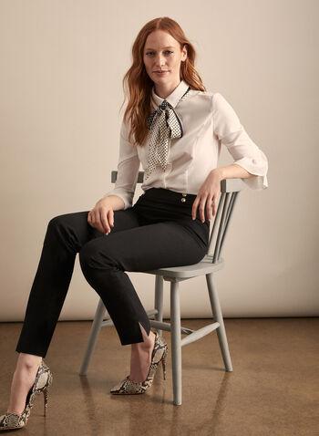Pantalon coupe Amber à jambe étroite, Noir,  pantalon, amber, jambe étroite, pinces, boutons, printemps été 2020