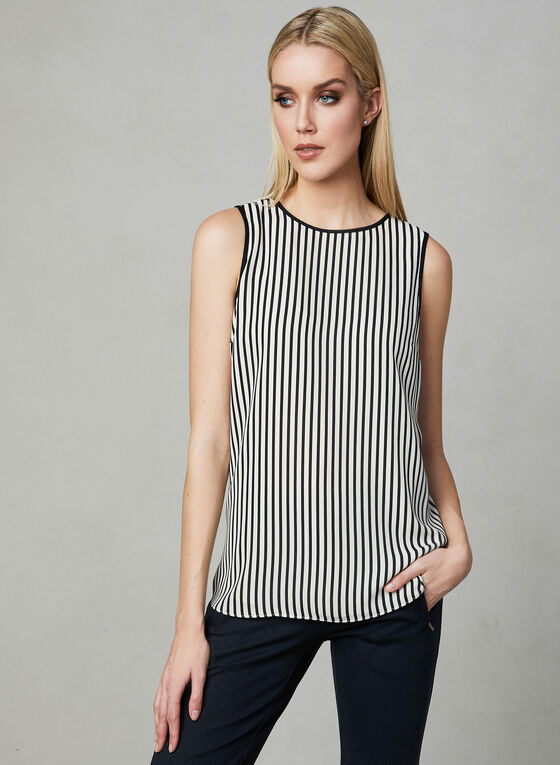 Stripe Print Sleeveless Top, Black