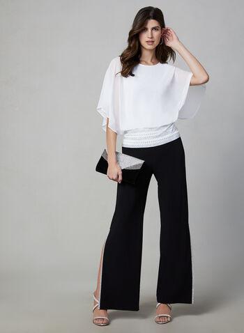 Joseph Ribkoff - Pantalon à détails strass, Noir,  pantalon, jambe large, fente, pull-on, strass, jersey, automne hiver 2019