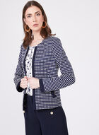 Boxy Jacquard Grid Print Cropped Jacket, Blue, hi-res