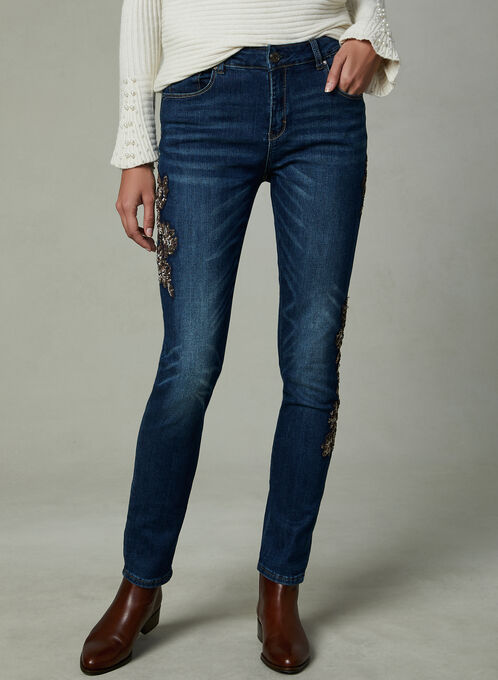 Simon Chang - Sequin Embellished Jeans, Blue, hi-res