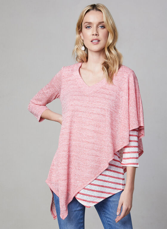 Pure Essence - Stripe Print Poncho Top, Red