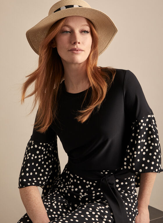 Joseph Ribkoff - Polka Dot Sleeve Top, Black