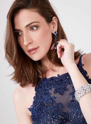 Cachet - Crystal Detail Soutache Lace Dress, Blue, hi-res