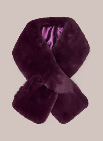 Faux Fur Pull Through Scarf, Purple,  scarf, winter, pull through, slip through, faux fur, satin, fall winter 2020