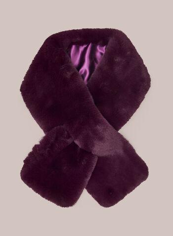 Col-écharpe en fausse fourrure, Violet,  col, écharpe, foulard, fausse fourrure, satin, automne hiver 2020, style à enfiler