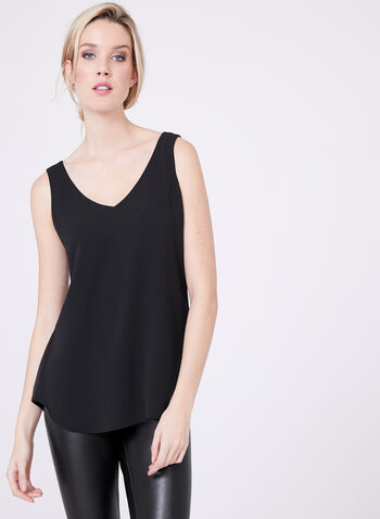 Sleeveless Layered Crepe Top, Black, hi-res