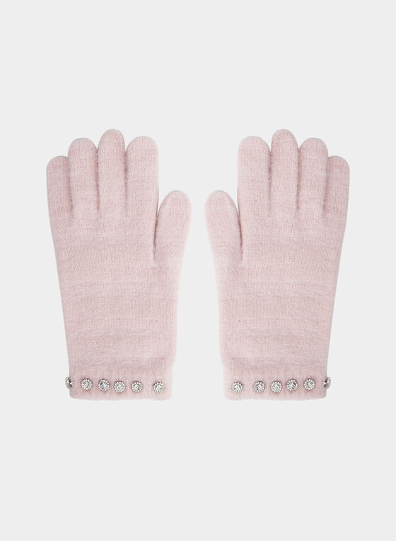 Karl Lagerfeld Paris - Gants en tricot poilu, Rose
