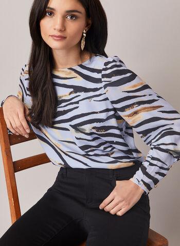 Blouse à manches longues et motif animal , Bleu,  blouse, manches longues, crêpe, imprimé animal, motif, encolure bateau, automne hiver 2020