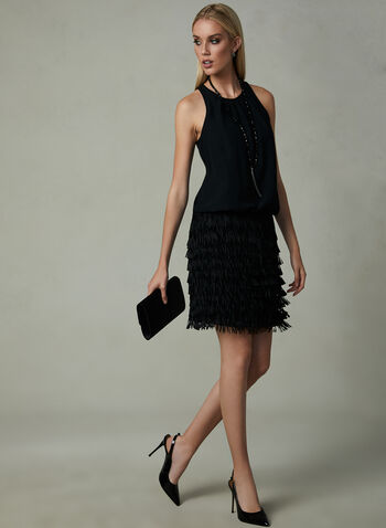 Aidan Mattox - Fringe Dress, Black, hi-res