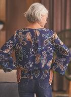 Chintz Print Flared Sleeve Blouse, Blue