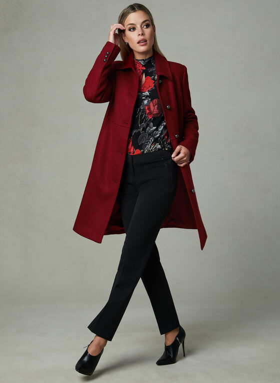 Novelti - Lapel Collar Semi Fitted Coat, Red, hi-res