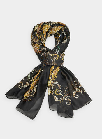 Foulard léger fleuri, Noir, hi-res,  foulard léger, fleuri, automne hiver 2019