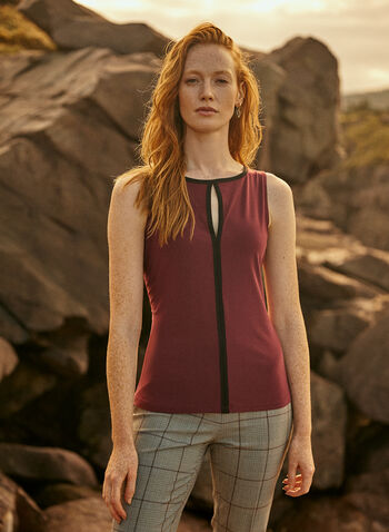 Sleeveless Contrast Top, Purple,  fall winter 2020, tops, sleeveless, contrast, keyhole, jersey. made in Canada