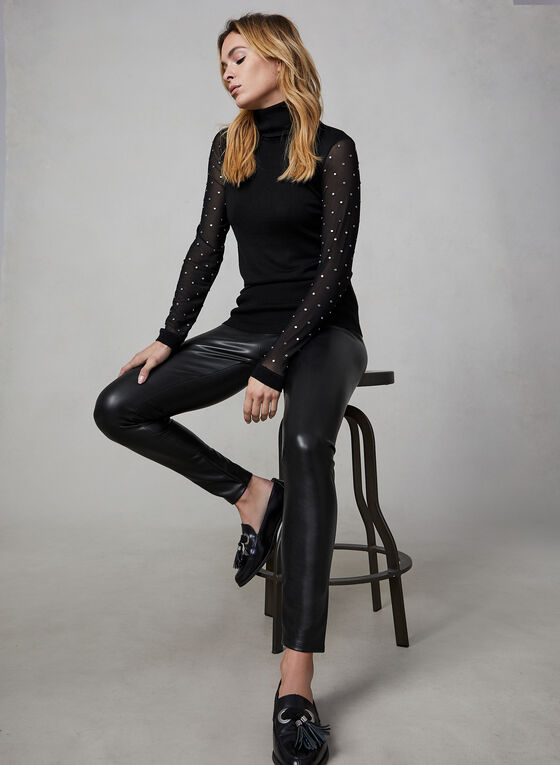 Mesh Sleeve Turtleneck, Black, hi-res