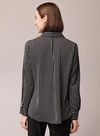 Stripe Print Button Front Blouse, Black