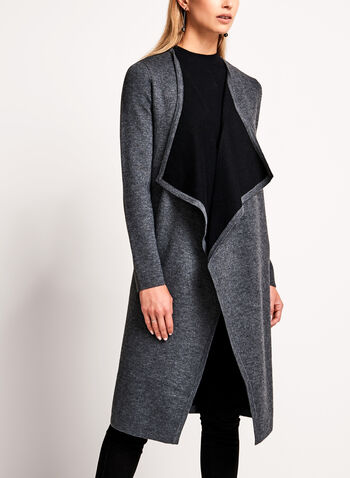 Contrast Cascade Front Long Cardigan, Grey, hi-res
