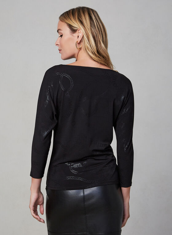 Chain Print 3/4 Sleeve Top, Black