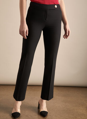 Lauren Petite Fit Pants, Black,  pants, lauren, petite, straight leg, pleats, mid rise, spring summer 2020