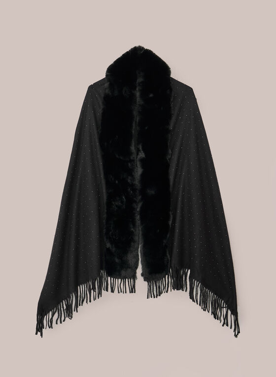 Faux Fur Detail Poncho, Black
