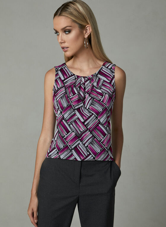 Abstract Print Sleeveless Top, Red, hi-res