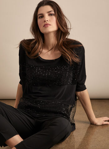Joseph Ribkoff - Crochet & Sequin Detail Top , Black,  top, blouse, sequins, mesh, crochet, 3/4 sleeves, dolman, jersey, spring summer 2020