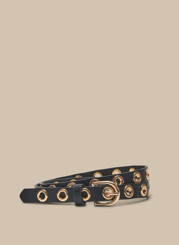 Eyelet Detail Leather Belt, Black,  spring summer 2020, leather finish, metallic eyelets