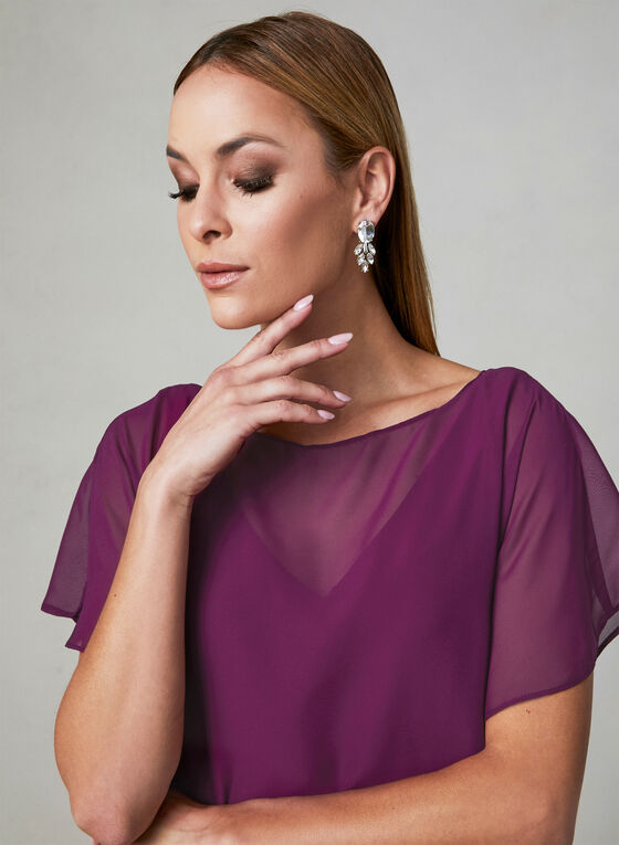 Adrianna Papell - Capelet Back Dress, Purple