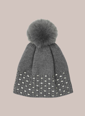 Removable Pom Pom Crystal Detail Hat, Grey,  fall winter 2020, knit hat, hat, tuque, beanie, stud, scattered studs, studded, crystal, removable pompom, pom pom,