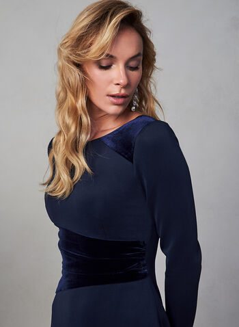 Vince Camuto -Velvet Detail Dress, Blue, hi-res,  fall winter 2019, long sleeves, cocktail dress