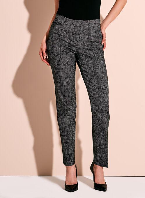 Pantalon 7/8 à effet ventre plat à motifs graphiques, Noir, hi-res