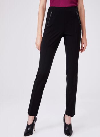 Pantalon Amber à jambe étroite et poches zippées, Noir,