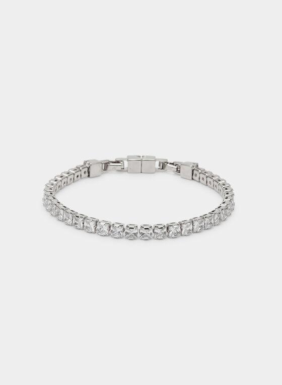 Bracelet souple à cristaux, Argent
