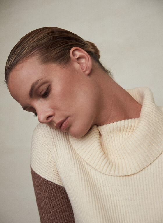 Colour Block Wide Turtleneck Sweater, Off White