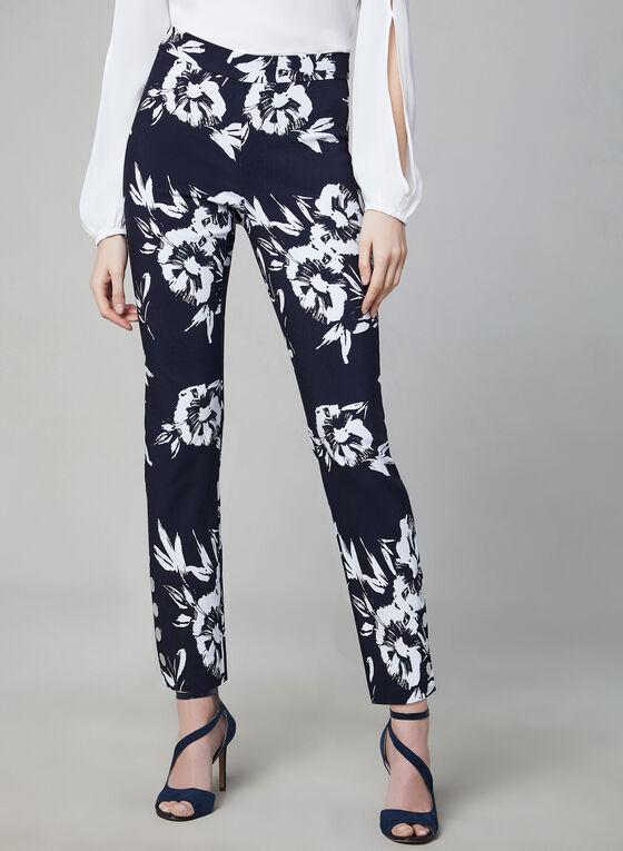 Floral Print Bengaline Pants, White, hi-res