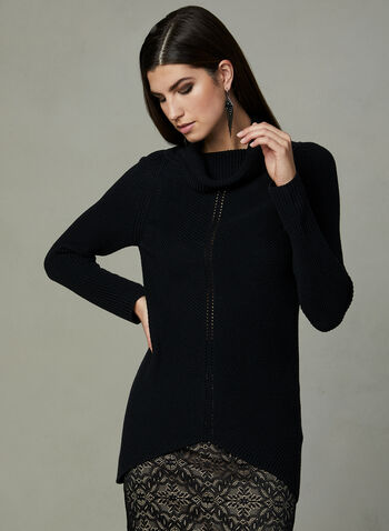 Knit Cowl Neck Tunic, Black, hi-res