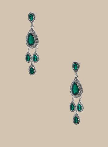 Boucles d'oreilles chandelier à pierres facettées, Vert,  boucles d'oreilles, chandelier, pierre facettée, cristaux, printemps été 2020