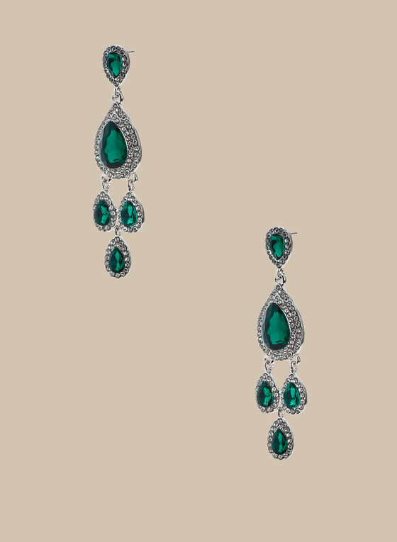 Teardrop Chandelier Earrings, Green