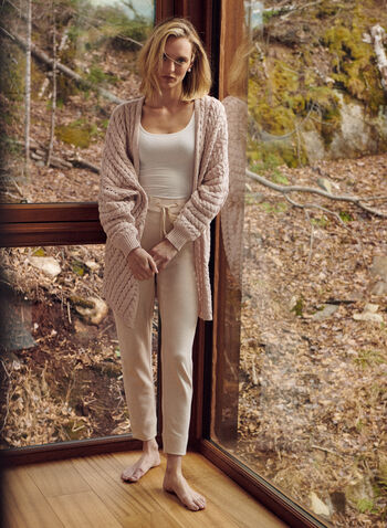 Long Cable Knit Cardigan, Pink,  spring summer 2021, cardigan, long, open, open front, cable knit, slouchy, oversized, lounge, knit, light, open weave, balloon sleeve