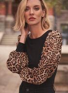 Haut à manches bouffantes et motif léopard, Noir