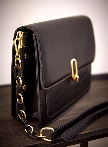 Vegan Leather Crossbody Bag, Black,  accessories, bag, purse, crossbody, shoulder strap, flap, clasp, crocodile, rivets, fall winter 2021